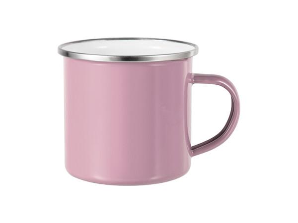 Jalino.ch - Emailletasse pink glänzend, mit silbernem Tassenrand