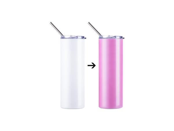 Jalino.ch - Getränkedose Farbwechsel UV 20OZ/600ml mit Trinkhalm für Sublimation weiss/pink