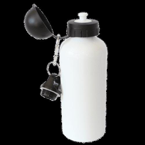 Jalino.ch - Aluminium Trinkflasche mit zwei Deckeln Fassungsvermögen 400 ml, weiss