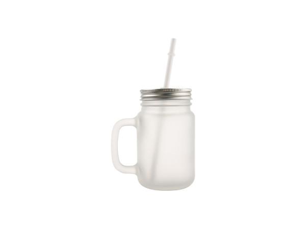 Jalino.ch - Mason Jar Getränkeglas mit Trinkhalm satiniert Sublimation