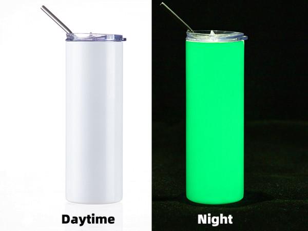 Jalino.ch - Getränkedose Glow in the Dark 20OZ/600ml mit Trinkhalm für Sublimation weiss/grün