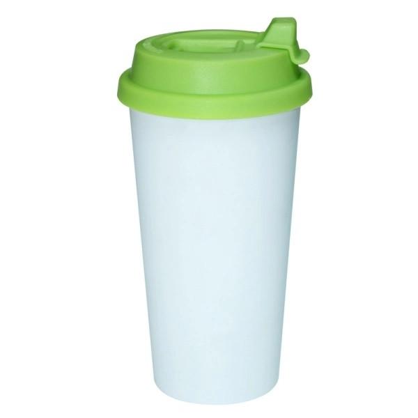 Jalino.ch - To-Go-Becher aus Kunststoff mit grünem Deckel