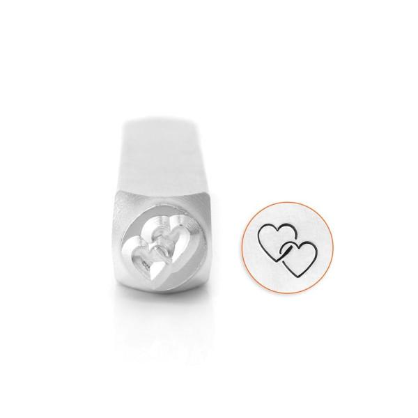 Jalino.ch - ImpressArt Prägestempel Motiv ineinandergreifendes Herz 9,5mm